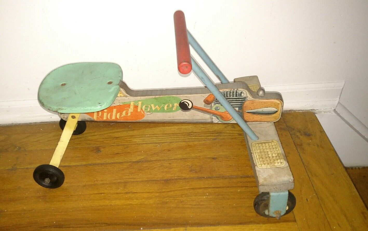 Rare Vintage N.N.Hill brass co Ride a mower pull toy airplane wood metal toy