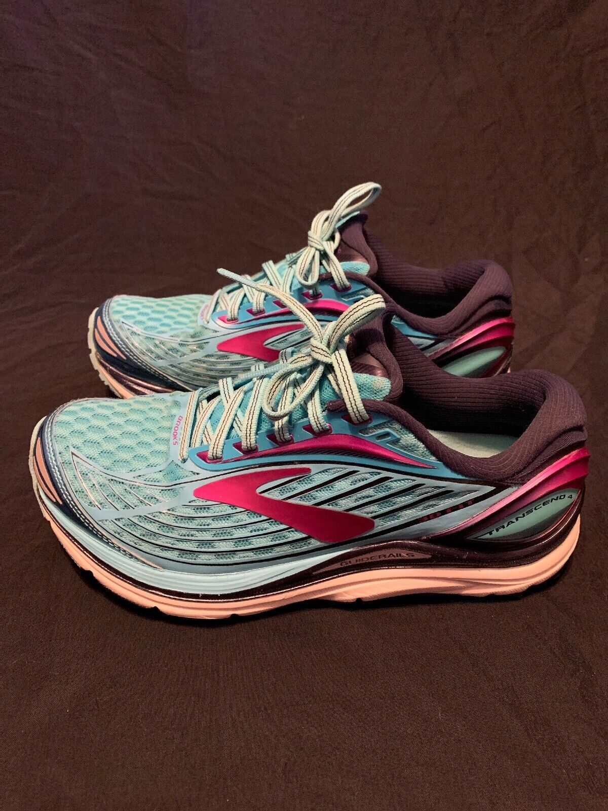 BROOKS Transcend 4 Women's Size 7 Ocean Teal Purple Running shoes Guiderail 5