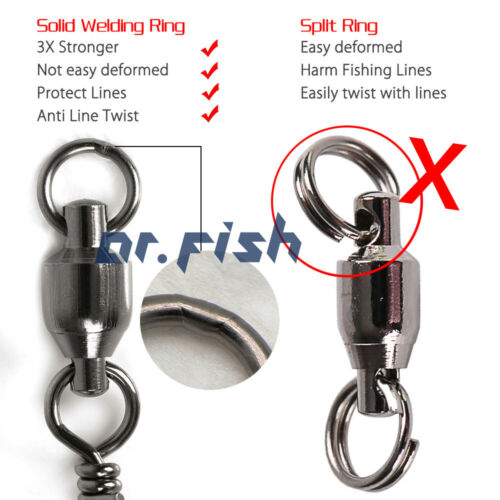 #1 #2 #3 #4 #5 #6 #7 #9 Dr.Fish 20 Snap Swivels Ball Bearing With Coastlock