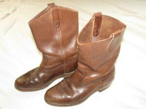bdfde629a95d6 Details about Vtg 70s USA Made Sheboygan Leather Engineer Boots Sz 9  Motorcycle Brown Nice!