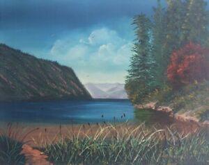Original & vintage Kathy Kendall Scenic Lake & Forest Landscape Painting