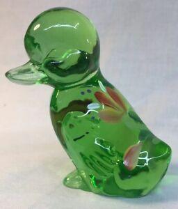 Fenton-Art-Glass-Hand-Painted-Flowers-On-Green-Apple-Duck