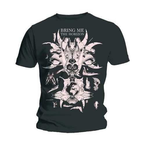 Bring Me The Horizon Men's Black T-Shirt Skull & Bones Band Official
