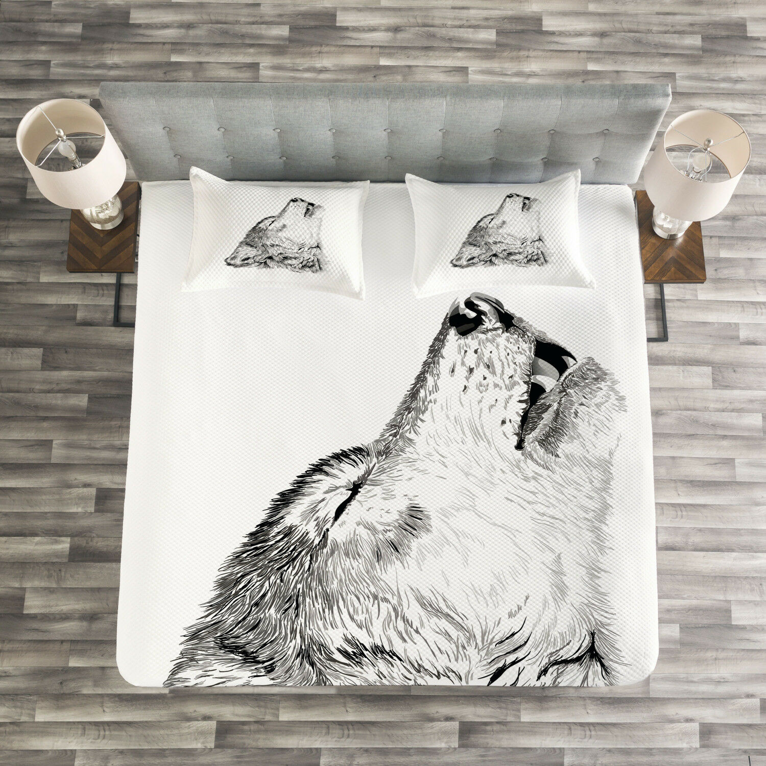 Wolf Quilted Bedspread & Pillow Shams Set, Monochrome Sketch Canine Print