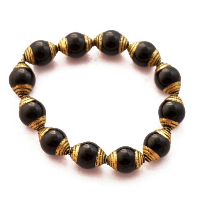 Black Onyx Brass Cap 12 Beads Tibetan Nepalese Ethnic Tribal Handmade UB2686