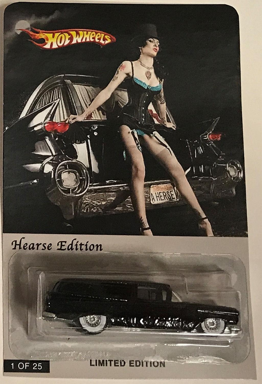 Hot Wheels Personalizado hecho Hearse Diecast Negro Edición Limitada Hot Wheels