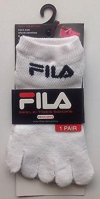Fila Skele-toes Socks Girl Boy Size 6-8 Shoe Size 10.5-4 Qwick-Dry No Show NEW