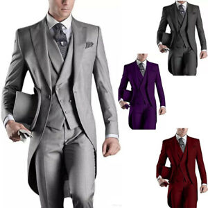 3PCS-Men-039-s-Suits-Groom-Tuxedos-Wedding-Formal-Swallowtail-Tailcoat-Morning-Suits