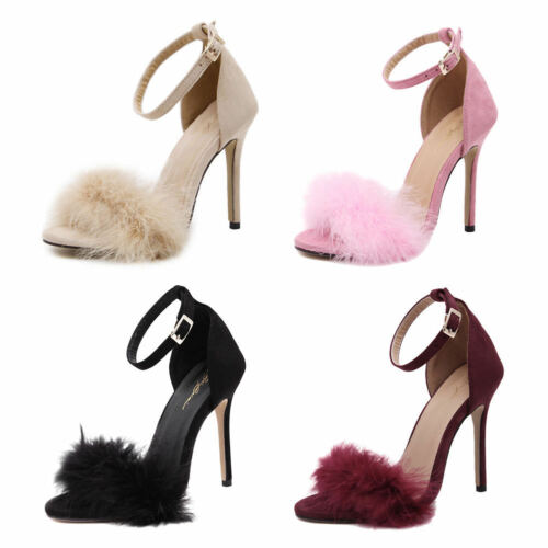 Ladies Fluffy Fur Ankle Straps Strapy Open Toe Sandal Block High Heels Shoes 3-8