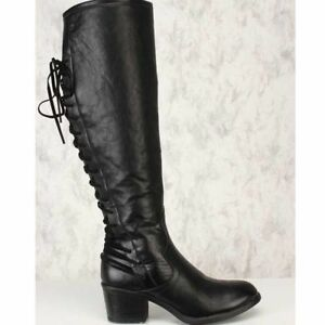 74bb95f929af Women s Knee high Knight Leather Boots Motorcycle Roman Punk Retro ...