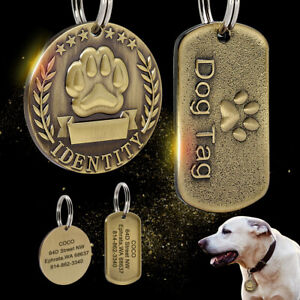 Military-Round-Pet-Dog-Tags-Personalised-Gold-Engraved-Name-ID-Collar-Tag-w-Paw