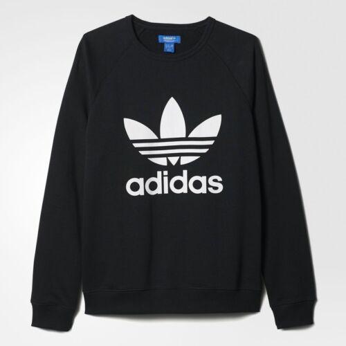 Felpa Adidas Crew Stampato Nero Trifoglio Girocollo Trefoil PPRxqwpf