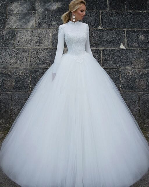 Long Sleeve Wedding Dresses High Collar Bridal Gown Lace