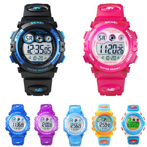 Details about Kids Fashion Watches Boys Girls Waterproof Sports LED Alarm  Timer Digital Watch