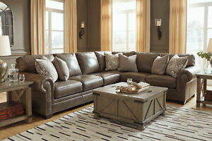 Details about Large Sectional Living Room Furniture - Taupe Brown Leather  Sofa Couch Set IG2O