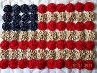 Americana Yo Yo Flag Kit Mat Quilt Primitive Country Farmhouse Patriotic