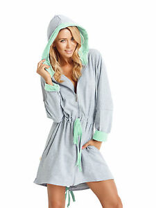 Image is loading Womens-Girls-Short-Length-Hooded-Dressing-Gown-Housecoat- ccc08b0a1
