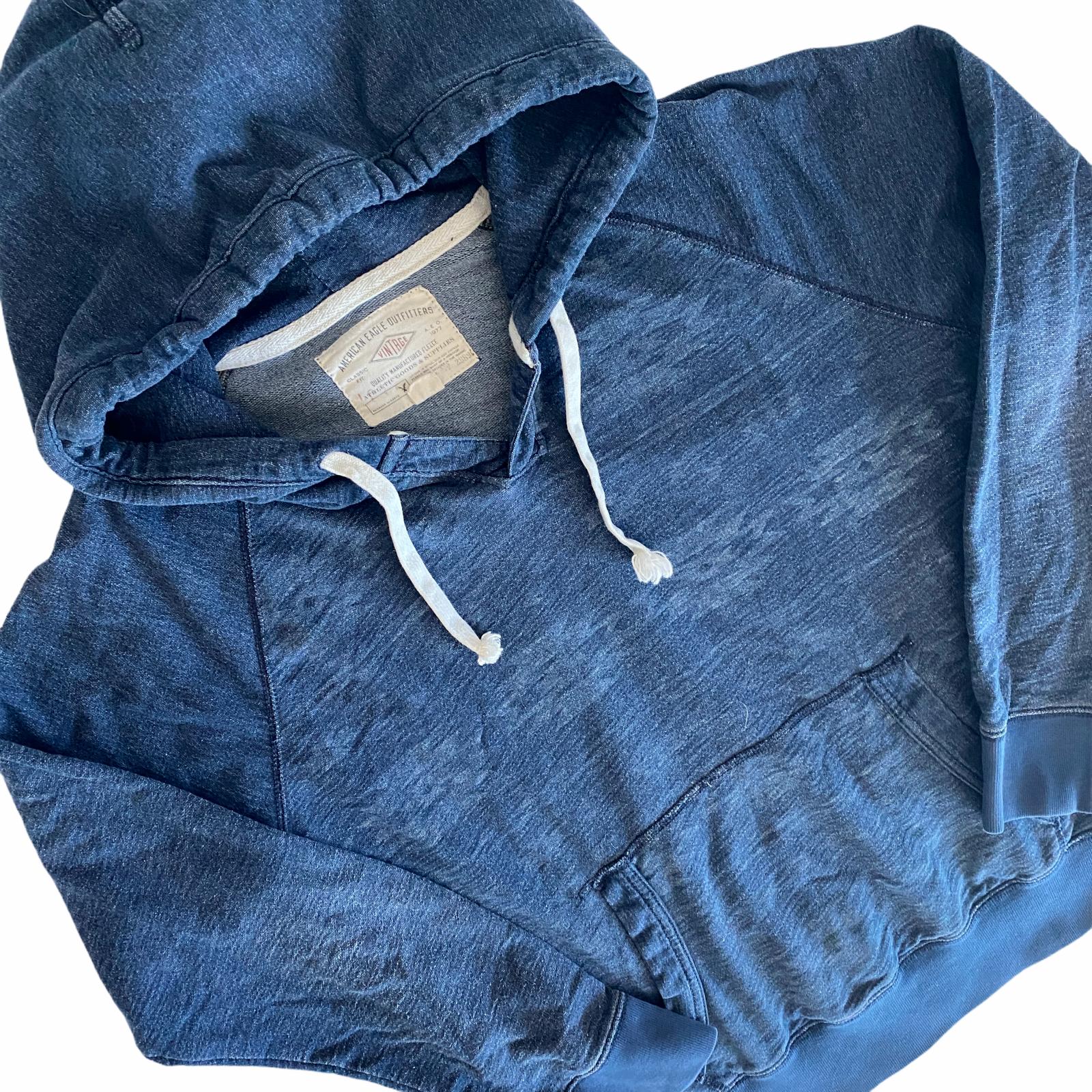 American Eagle Hoodie Sweatshirt Men's Medium M Blue Southwestern Aztec