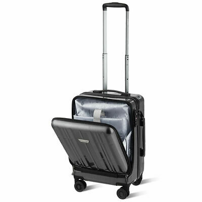 "Carry On Luggage 20"" Front Pocket Business Trolley Spinner w/ Double TSA Locks"