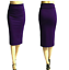 Ladies-Plain-Office-Womens-Stretch-Bodycon-Elegant-Midi-Pencil-Skirt-Dress-S-XXL thumbnail 16