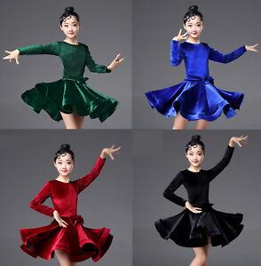 0077b07ec Children Girls Latin Salsa Dance Dress Ballroom Costume Competition ...