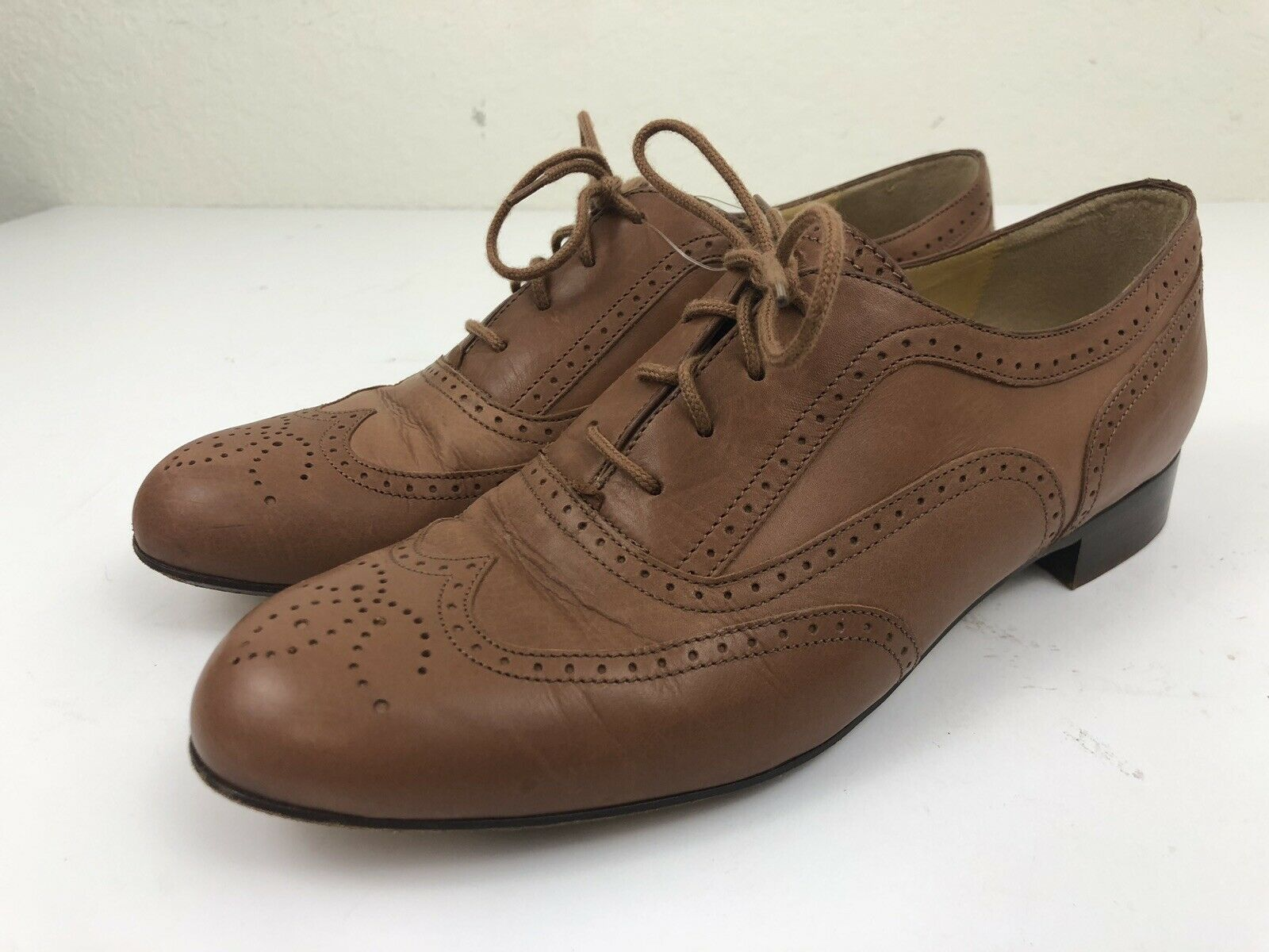 J Crew Womens Camden Leather Brogues Size 8 Brown Wingtip Made In