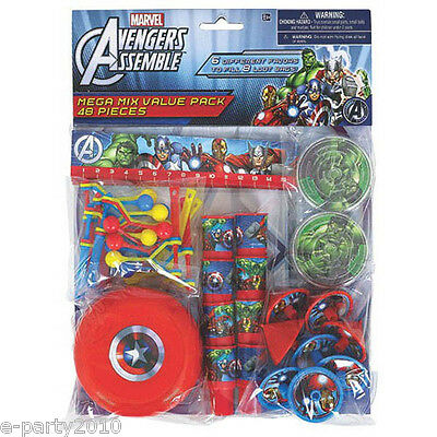 AVENGERS ASSEMBLE FAVOR PACK (48pc) ~ Birthday Party Supplies Toys Loot Marvel