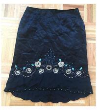 Nanette Lepore Black High Low Beaded Long Ankle Skirt, Size 4