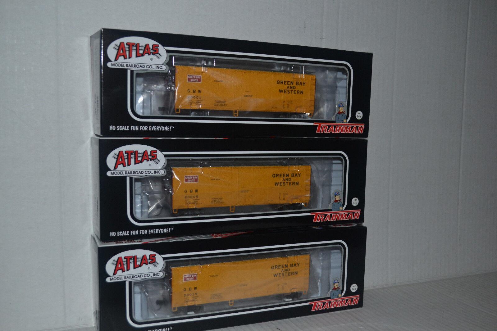3 Atlas verde Bay & Western 40' Plug Door Box Car Ho Scale