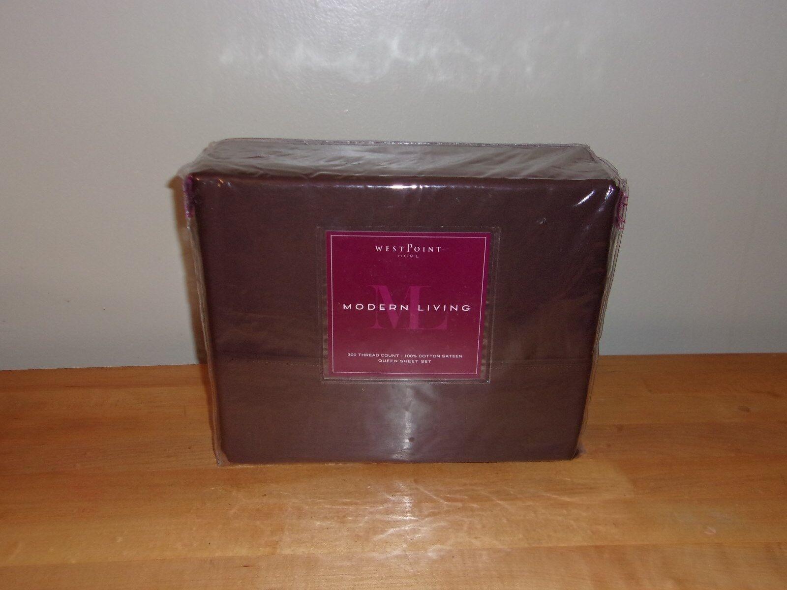 Modern Living T300 Solid Java braun Cotton Sateen 4PC Queen Sheet Set NIP