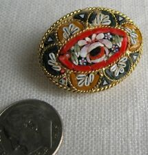 Micro Mosaic Brooch Vintage Italian Glass, Multi-Colored Oval Flowers Gold-Tone