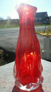 """Mid Century Modern Red Orange Clear Art Glass Vase 10"""" Vintage Heavy Hand Blown"""