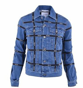 Giacca Giubbotto Jeans Moschino Logo 04596 Righe Runway Blu Couture Con EwwgxTt8q