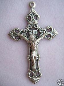 Catholic-Crucifix-Medal-Fancy-Ornate-Filigree-2-034-Nice-size-for-rosary