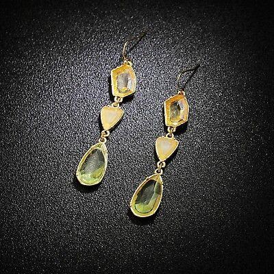 Boucles d/'Oreilles Clous Doré Vert Pavé Art Deco Goutte Filigrane Fin Retro B10