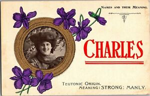 Names-and-Their-Meaning-Charles-Strong-Manley-Vintage-Postcard-N22
