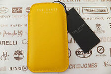 TED BAKER GG55 iPhone 4 Case Universal Phone Pouch Yellow Grain Pu Sleeve BNWT