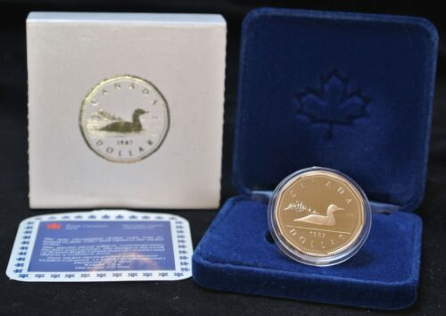 First Year of Issue w//Case COA 1987 CANADA SPECIAL PROOF EDITION $1 DOLLAR