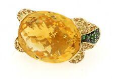 JCR heavy 14k gold 14.84ct citrine tsavorite sapphire cluster cocktail ring