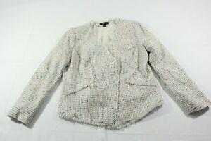 MNG-Suit-Womens-Blazer-Jacket-Tweed-Multicolor-Ivory-AsymmetricAl-Zip-Sz-10