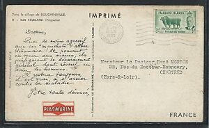 FALKLAND ISLANDS (P1101B) 1955 KGVI 1/2D ON PENGUIN PPC, DOCTOR CARD TO FRANCE