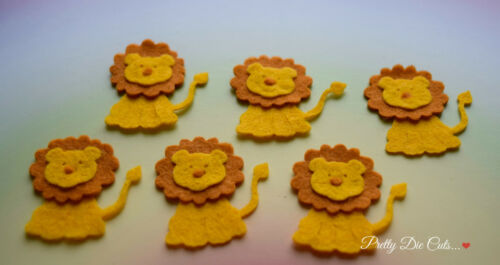 pack of 6 Felt Lions Die Cut Wild Animal Craft Embellishments