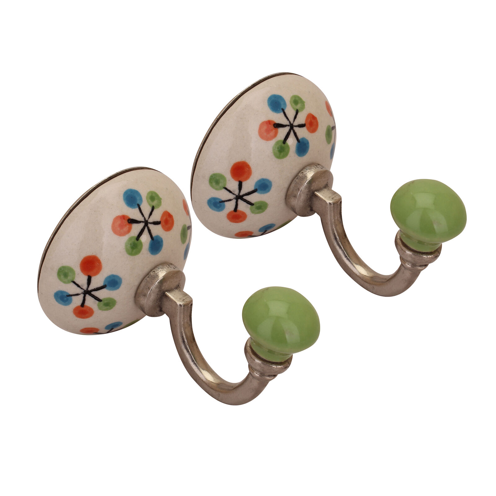 Indian Beautiful Wall Hooks Handmade Cabinet Ceramic Metal Hanging for Towels
