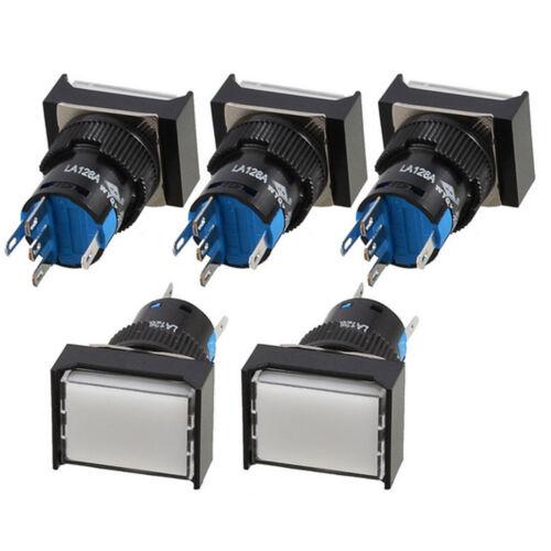 5pcs Momentary DC12V 5 Pins 16mm White Lamp Rectangular Push Button Switch