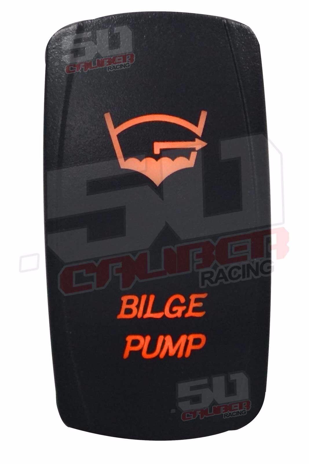 Custom Bilge Pump On/Off Rocker Switch Orange Tige Sea Ray Fountain Cobra