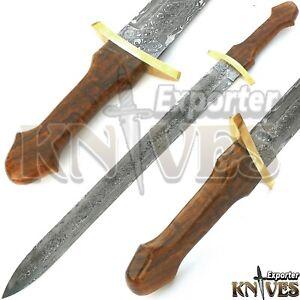 Blacksmith-New-Custom-Made-Damascus-Steel-Viking-Medieval-Sword-Wooden-Handle