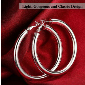 925-Sterling-Silver-Plated-Thick-Shiny-Hollow-Round-Tube-Circle-Hoop-Earrings