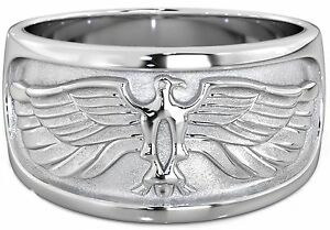 NEW-Heavy-Mens-925-SOLID-Sterling-Silver-Eagle-Wedding-Ring-11mm-Gift-Box