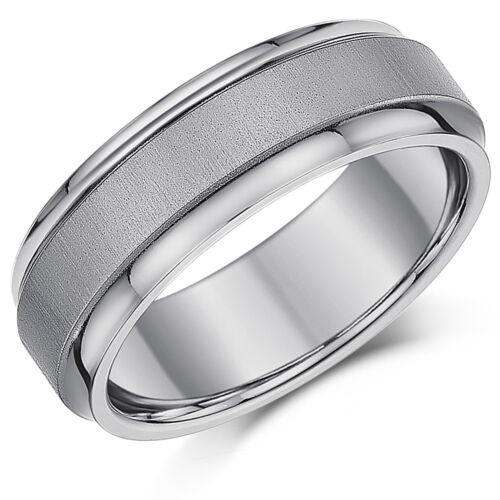 7mm Men/'s Titanium Ring Matt /& Polished Satin Look Unisex Ring