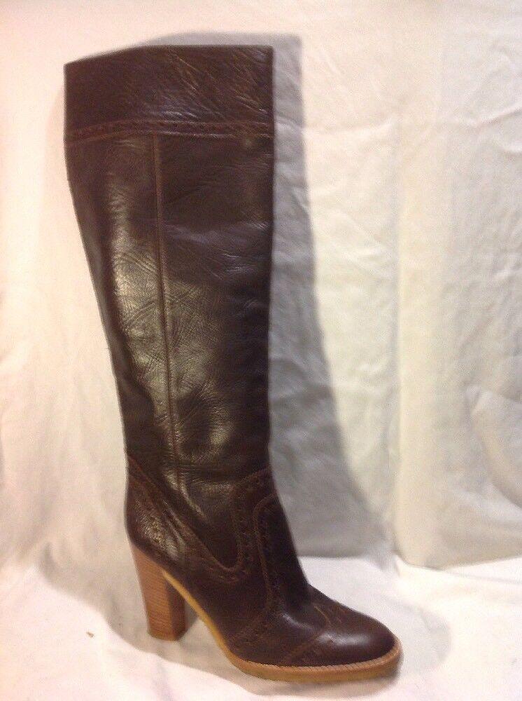 Odile Quaid marron Knee High Leather bottes Taille 38.5